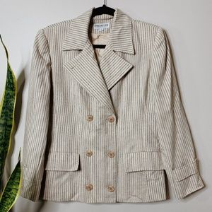 • VINTAGE • tan & navy blue striped blazer